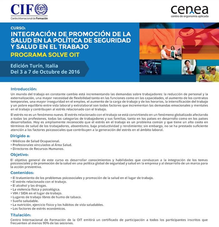 promocion de la salud en el trabajo OIT - CENEA