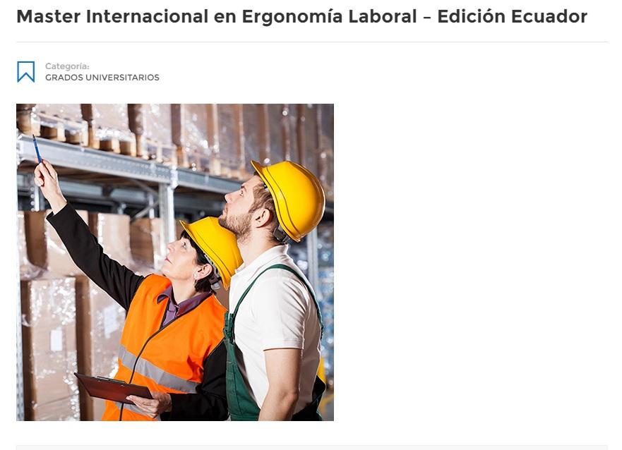 maestria ergonomia laboral ecuador